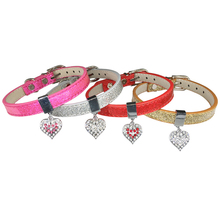 Crystal Heart Charm Pet Dog Collar Puppy Cat Pet Buckle Dogs Leads Neck Strap PU Leather Animal Pet Accessories for Small Dogs(China)