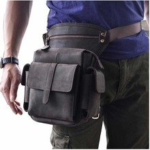 New Crazy Horse/Oil Wax Genuine Leather Thigh Drop Leg Bag Men Military Motorcycle Messenger Hip Belt Fanny Pack Male Waist Bags