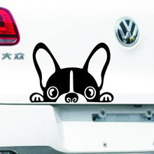 1 Pcs Animals Puppy Car Stickers / Decals Decoration for Car Bumper Door Cute Dog Security Peace Window Edge (White Black) Hot(China)