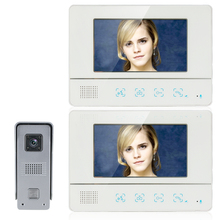 Home Security New 7 inch TFT Video Door Phone Intercom Kit Set With 2 White Screens + Night Vision Outdoor Camera Free Shipping(China)