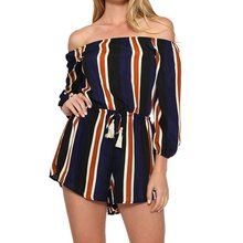Strapless Collar Striped Short Jumpsuit Playsuit Summer Beach Casual Overalls Girls Jumpsuit Shorts