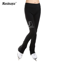 Customized ice skating long pants Figure Skating Costume Pants fleece Trousers Adult Child Girl Competition training Rhinestone