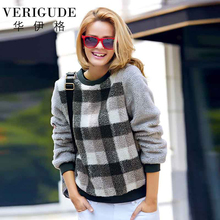 Veri Gude Faux Lamb Fleece Sweatshirts Plaid Pullover Women Loose Tops Women Warm Blouse for Autumn or Winter Plaid Tops