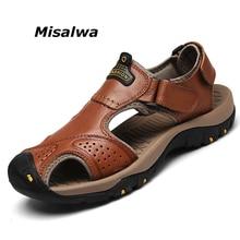 b6001ec61c22 Misalwa Mens Genuine Leather Summer Sandals Male Slippers Toe Protect  Anti-skid Outdoor Beach Men