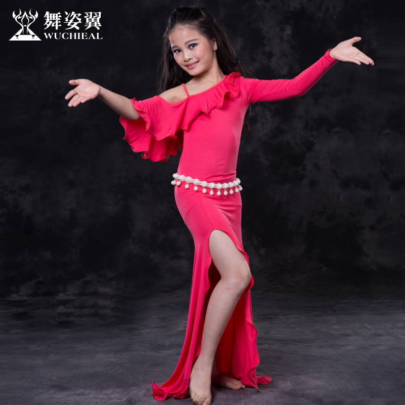Bellydance Belly Dance Costumes 2017 Cotton Limited Belly Dance Dress Wuchieal Brand New Kids Girls Costumes For Oriental Rt111