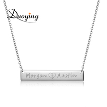 Duoying Necklace for Amazon 40*7mm Gold Color Stainless Steel Bar Custom Engraved Name Necklace Personalized Initial Necklace