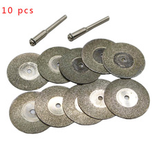 10 pcs 30mm Diamond Grinding Wheel Slice with Two 3mm Shank Mandrels for Dremel Rotary Tool