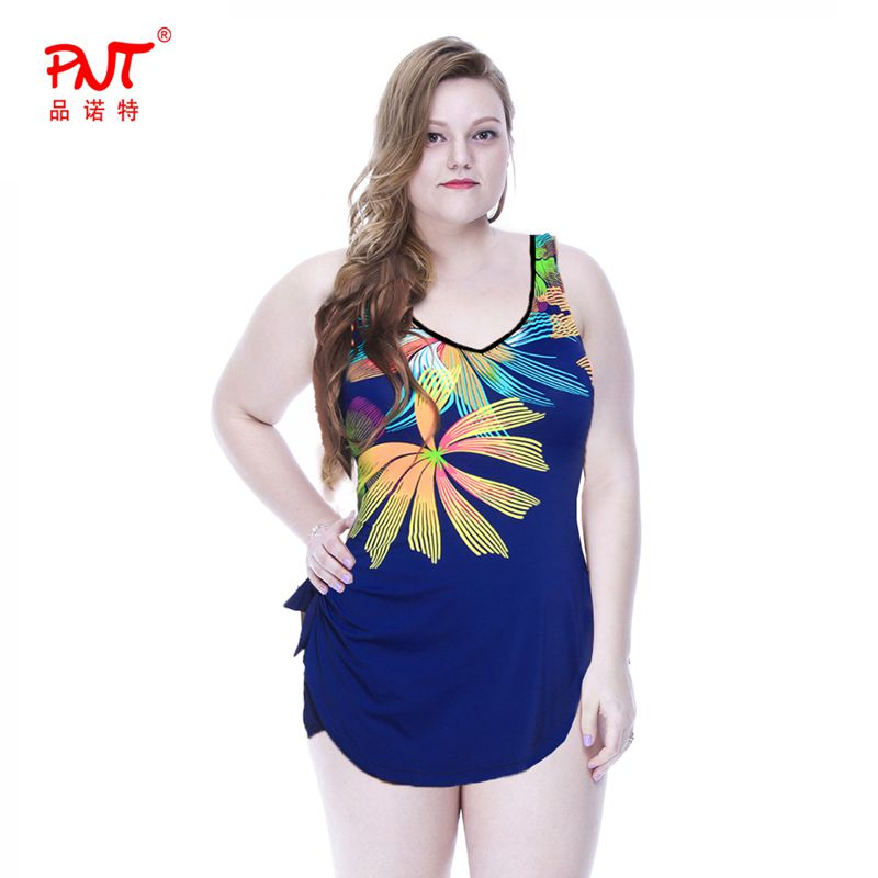 2 Color Hot Sale 2017 New Summer Ladies Sexy 3XL,4XL,5XL,6XL Retro Big Plus Large Size Swimwear Women Swimsuit One-Piece Padded <br>