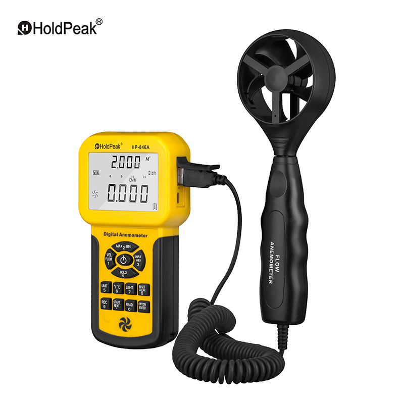 0.3~45m/s Wind Speed Sensor HoldPeak HP-846A Digital Anemometer Air Volume Measure Instrument Data Record &amp; Handheld Tester<br>