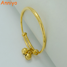 Anniyo 1Piece US$3.6 / Bell Bangle For Baby / Kids Gold Color Ethiopian Bracelet Africa Arab Jewelry Circlet #000307