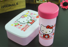 Hello Kitty&Doraemon& Frog& Bear Dinneware Kids Food Container Microwave Bento Box Dinnerware Set Water Bottle+Lunch Bag