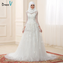 2017 Muslim Wedding Dresses Lace Long Sleeves High Neck Arabic Bridal Gowns Applique Elegant Islamic Bride Dress For Dubai