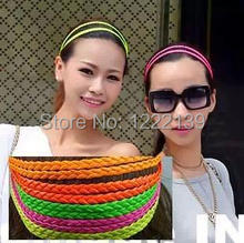Fluorescence color PU leather plaited hair band braided double headband hippie elastic hairband hair accessory mix color(China)