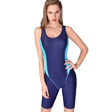 Women's Open Back Full Body Short Leg Kneeskin Tech Suit One Piece Neck To Knee Sport Racing Competition Swimsuit Swimwear