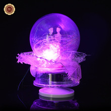 WR Love Snow Ball Christmas Ornaments Unique Music Box Valentine Gift Happy New Year Gift Lace Glass Balls Love Wedding