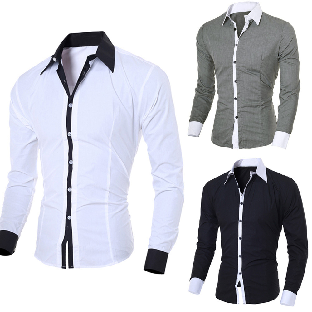 Men's Shirt Top-Blouse Men Tops Solid-Dress Long-Sleeve Slim Casual Personality Fashion title=