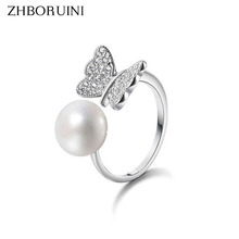 ZHBORUINI Fashion Ring Pearl Jewelry 8-9mm Butterfly Rings Natural Freshwater Pearl 925 Sterling Silver Jewelry For Women Gift(China)