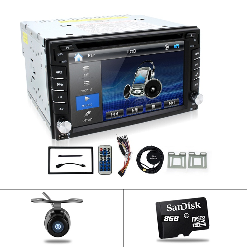 "Reverse Camera+GPS map 6.2"" 2 Din Car GPS Navigation Stereo DVD Player Bluetooth iPod Radio FM AM Receiver MP3 Indash Head Unit(China)"