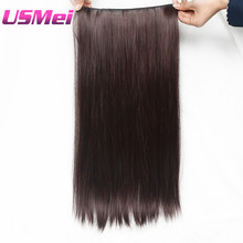 USMEI one of five Colors straight Clip In Hair Extensions Natural Hairpiece synthetic 24 inch Long Dark brown Hair Extension