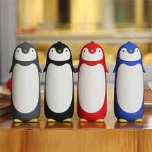 Cute Penguin Insulated Bottles Stainless Steel Silicon Boron Glass Mug Travel Coffee Tea Vacuum Flasks Best Gift for Kids(China)