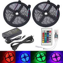 5M 10M 5050 RGB Waterproof LED Strip Tiras Tape Light Wifi controller 24 key remote samrt phone control 12V DC 3A Adapter