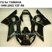 Fit for Yamaha fairings YZF R6 1998 1999 2000 2001 2002 black black bodywork parts fairing kit yzf-r6 98 99 00 01 02 FB-04