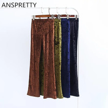 Anspretty Apparel 2017 Women Velvet High Waist Flare Pants Army Green Four Color Trousers Fashion Wide Leg Pants