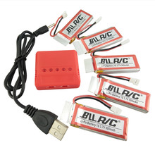 BLLRC hot airplane battery for Hubsan X4 H107C H107D H107P SYMA X11C X5C helicopter parts 3.7V 500mah 5PCS and 5 in 1 charger(China)