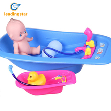 LeadingStar Baby Bath Toy Set Bath Tub With Hand Shower, Duck and Imitate Doll Non-Toxic Water Toys zk25