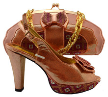 Amazing wedding/party set African lady shoes matching with clutch handbag set  MM1033 in peach,multi color