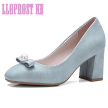 LLOPROST KE European Brands Designed Women Shoes Thick Heels Square toe OL Pumps Bead Butterfly-knot Mary Jane Shoes dxj1872