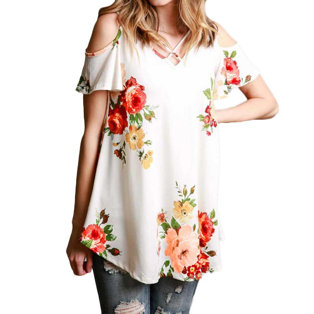 New 2018 Spring Summer Tops Women Short Sleeve Sexy Casual T-shirt Print Slim Off Shoulder T-shirt Flowers Print Tops T-shirt 21