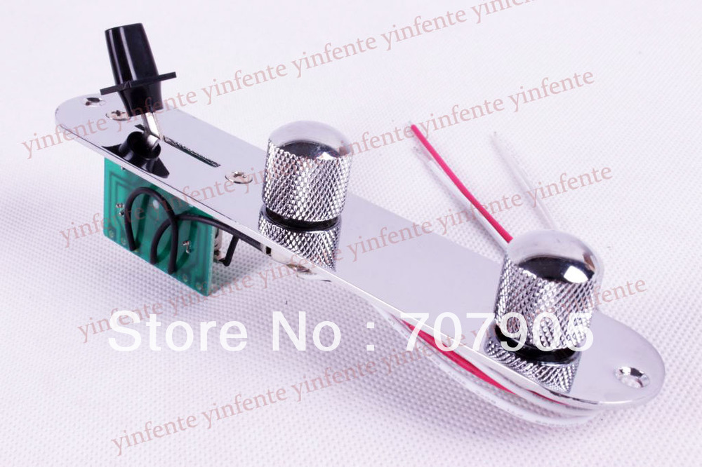 WIRED CONTROL PLATES SWITCH KNOB FOR TELE GUITAR CHROME<br>