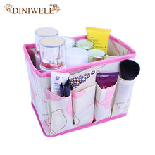 DINIWELL Large Capacity Foldable Make Up Cosmetics Storage Box Container Bag Dresser Desktop Cosmetic Makeup Organizer