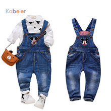 Kid Baby Jeans Gor Girl Boy Cartoon Mouse Strap Bib Denim Trousers Unisex Suspenders Kids Overall Pants Children Clothing