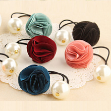 New Fashion Women Hair Accessories Elastic Hair Band Cloth Rose Flower Pearl Rubber Band Girl Hair Rope Ponytail Holder Ties Gum