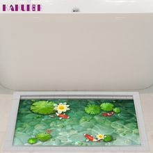 KAKUDER Floor Stickers 3D Bathroom Anti Slip Lotus Flower Pattern Floor Sticker Waterproof Shower Decor u6922 DROP SHIP