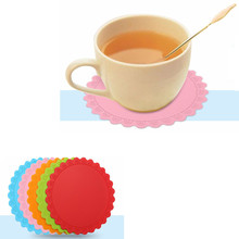 New Kitchen Round Type Insulation Hot Pad Stand Holder Silicone cup mat pads Pink Green Blue Coffee Yellow Red Orange 14.3cm