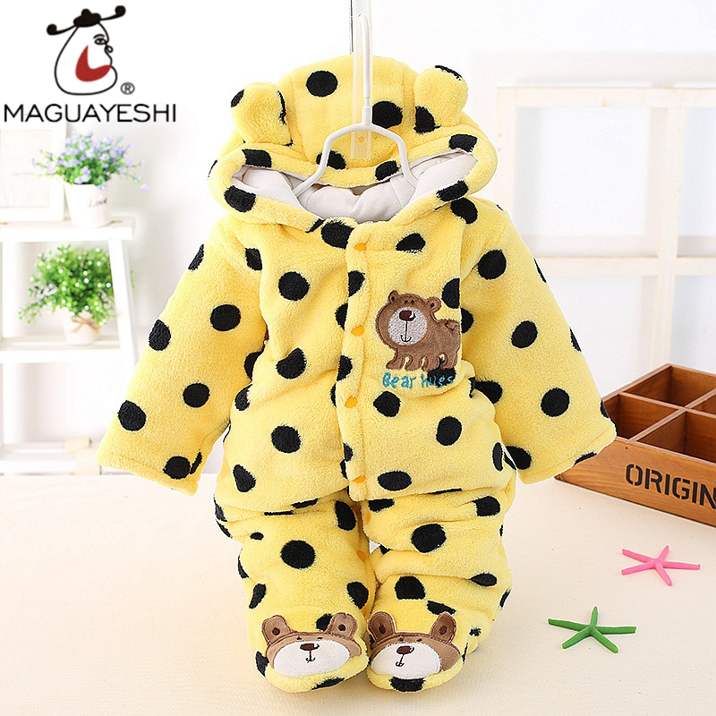 New born Baby Clothes Polar Fleece Animal Baby Romper Baby Girls Clothing Polka Dots Infant Jumpsuit 2017 Newborn Cotton-padded <br><br>Aliexpress
