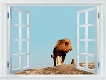 Father Lion Cute Baby Wild Cat Animal HUGE GIANT Fake Windows Decor Posters FW00099