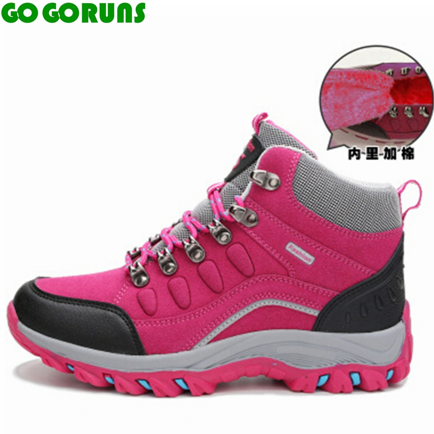 outdoor winter high top hiking shoes women waterproof breathable climbing trekking hiking shoes zapatillas mujer snow boots 288k<br>