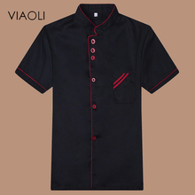 VIAOLI High Quality Chef Uniforms Clothing Short Sleeve Men Food Services Cooking Clothes 8-color Big Size Uniform Chef Jackets(China)