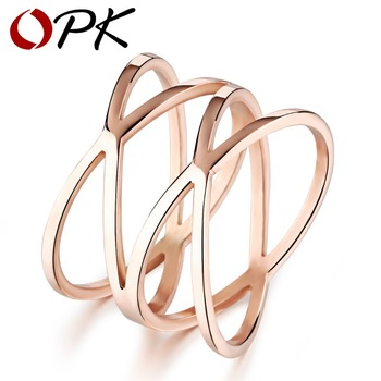 OPK Unique Shaped Woman Wedding Party Bands Classical Rose Gold Plated Cocktail Rings For Womens Fashion Jewellery 461