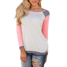 Hot Neon Pink Color Women Casual Long Sleeves T-shirt Loose Cotton Tops Shirt