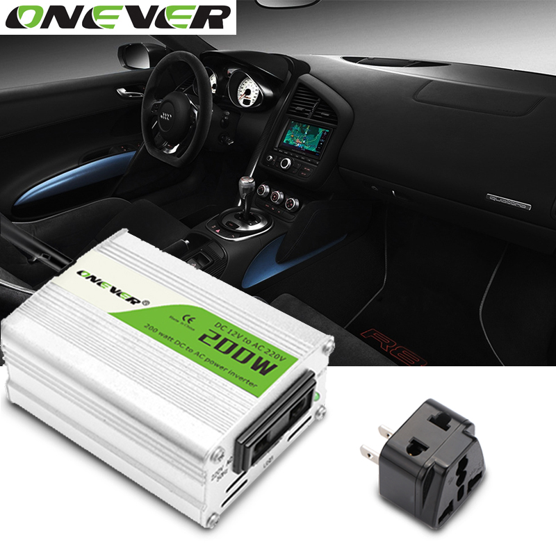 12V DC to AC 220V 50HZ Car Auto Power Pure Sine Inverter Converter Adapter Adaptor 200W USB Car Charger 400W Peak Power 1PCS(China)