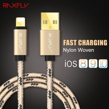 RAXFLY USB Charger Cable For iPhone 5 5s SE 6 6s 7 7 Plus 1M 2M Durable Nylon Woven Data Sync Cable For iPad Mini 1 2 3 Air