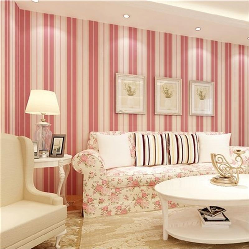 beibehang Vertical striped wallpaper Mediterranean style yellow red pink wallpaper bedroom living room full of wallpaper<br>