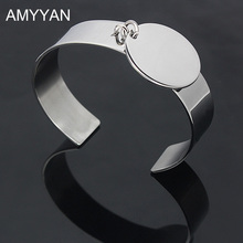 AMYYAN 16mm wide Round Charm Bracelet 316L Stainless Steel Bracelets Cuff Bangles Can Be Customize Name Logo Laser Engrave