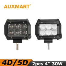 "Auxmart 30W 4"" LED Work Light 4D/5D CREE chips Spot/Flood Beam Offroad Led Light Truck Motorcycle ATV Driving Fog Lamp"
