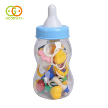 GOODWAY Baby Toys 10pcs Lovely ABS Plastic Newborn Hand Shake Bell Ring Rattles Toys Non-toxic Baby Teether Feeding Bottle Pack(China)